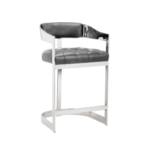 beaumont counter stool in grey and stainless steel