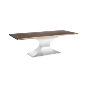 dining room prague table seared oak and stainless steel