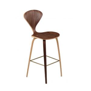satine bar stool walnut and brushed gold footrest